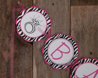 BACHELORETTE Banner - Final Fling Party Decorations - Ring Themed Banner - Bridal Shower - Final Fling Decorations in Hot Pink & Zebra