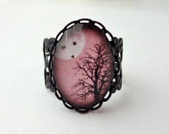 Dusty Rose Winter Tree Filigree Statement Ring. Birds. Winter Tree. Full Moon. Sky