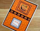 SALE! 50% OFF - Candy Time Halloween Handmade Cross Stitch Card in Black and Orange.