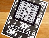 Handmade Cross Stitch Thank You Card Assisi Style Black and White