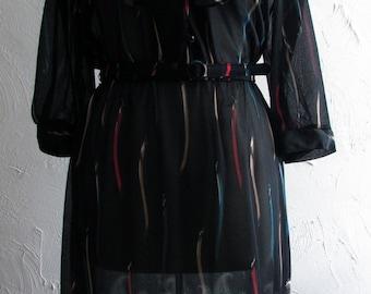 Vintage Black Sheer Dress with Paisley Print Detail - Jane Baar New York