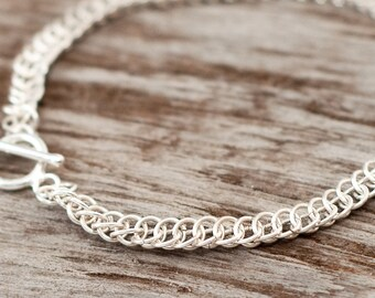 Sterling SILVER Half Persian Chainmaille Bracelet - Modern Classical Jewelry - Persian Japanese European 925 - Feminine Byzantine