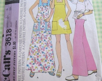 1970's Vintage McCall's Sewing Pattern 3618 Misses' Dress or Top..size 10..bust 32 1/2