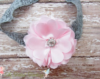 Pink Satin & Tulle Flower Puff w/ Rhinestones Stretchy Silvery Gray Lace Headband or Hair Clip, Wedding, Baby Toddler Child Girls Headband
