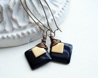 Black Or Red Gold Drop Earrings, Black Long Earrings, Square Earrings, Geometric Jewelry, Unique, Vintage Style Earrings, Brass Earrings