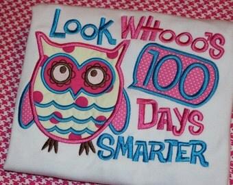 100 days smarter- School tshirt or ruffle dress- owl