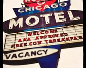 Color Photograph of Heart O'Chicago Motel Sign / red art for walls / indigo blue / vintage motel sign / Edgewater, Chicago / wall  art print