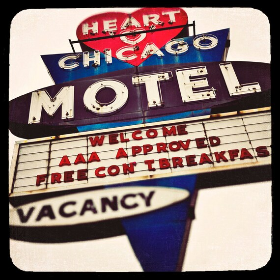 Vintage Sign Prints, Heart O'Chicago Motel, Old Signs of Chicago, Red Heart Photograph, Travel Photography, Americana, white, blue, North