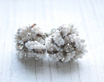 1950s white Glass Beaded Screw Back Earrings // New Old Stock
