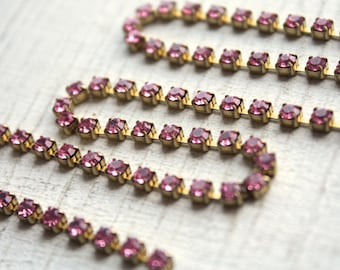 1 Foot Vintage Rhinestone Chain // 50s 60s Rose Pink Rhinestone Chain // 3mm