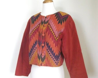 Vintage 70s Ethnic Huipil crop coat / chevron woven embroidered / Guatemalan /  Boho jacket