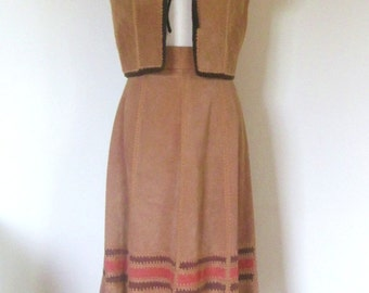Vintage 70s suede leather set / matching Hippie vest and skirt  /  crochet trimmed patchwork Boho skirt and vest
