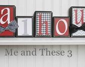 Wood letter name block - black crimson red white grey chevron houndstooth