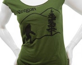 Oregon Bigfoot sasquatch T Shirt. Sexy Soft Jersey top. American Apparel lightweight. Great gift for her. Portland hometown tees.