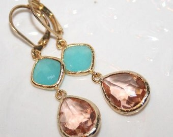 Pink Champagne Mint Wedding Earrings Mint Peach Earrings Bridal Earrings Bridesmaid Jewelry Set Bridal Jewelry Peach Mint Wedding