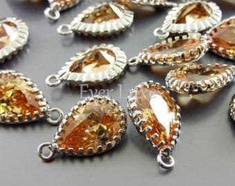 2 teardrop pendant, silver frame crystal cz in champagne peach, jewellery supplies 1821R-CH
