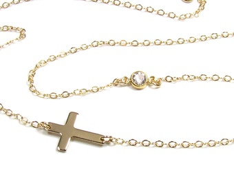 Sideways Cross and Bezel Set CZ Necklace - Tiny Gold or Sterling Silver Horizontal Cross