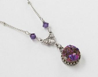 Druzy Necklace Purple Titanium Quartz Agate Gemstone Silver filigree crystal pendant Necklace Statement jewelry Gift Steampunk Nation