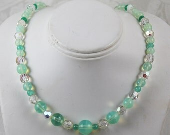 Vintage Pastel Mint Green Crystal Beaded Necklace with Sterling Silver Clasp