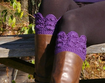 Boot Cuffs, Lace Boot Cuffs, Crochet Boot Toppers, Knit Boot Socks, in Purple