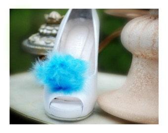 Wedding Blue Shoe Clips Feathers Puff Pouf. Engagement Clips. Boudoir Burlesque, Glamour Statement Pom Pom, Stylish Couture Bride Bridesmaid