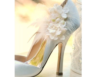 Shoe Clips Ivory Hydrangeas. Elegant Bridesmaid Bride Wedding Pumps. More red lavender apple green hot pink tan. Pearl Feather Tulle Couture
