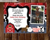 Farm Birthday Invitation, Farm Animals Birthday Party Invite, Farm Party, Farm Bday Invite, First BIrthday Invitation, 1st Birthday Invite
