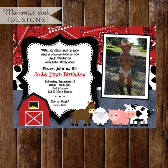 Party Animal 1st Birthday First Birthday Ideas: Farm Birthday Invitation Farm Animals Birthday Party Invite
