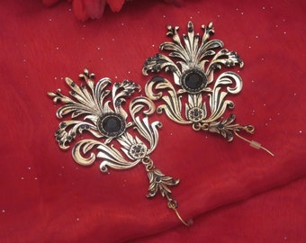 VINTAGE EARRINGS Dangle Antique Silver and Black