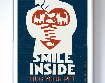 Wall Decor - Pet Care Animal Poster - Graphic Art Poster - Dog, Cat, Art Print - Typography
