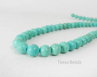 7mm Turquoise Beads, Round Turquoise Beads, Aqua Blue Green, Full Strand for Leather Wrap Bracelets