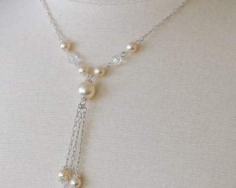Bridal Wedding Jewelry, Sterling Silver Y-Necklace with Swarovski Crystals and Pearls, Vidia Collection