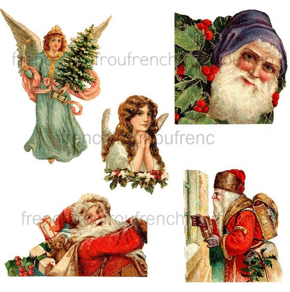 Items similar to antique victorian santa claus and angels