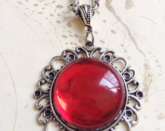 Ruby Jewel Necklace, Red Cabochon Necklace, Red Victorian Necklace by MinouBazaar