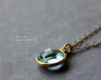 Aquamarine Blue Quartz Bezel Set Pendant Necklace - 14K Goldfilled ....LIMITED EDITION