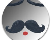 Hand painted mirror - Black  Moustache with eyebrows and mouth