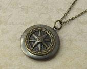locket necklace - compass necklace - antiqued brass vintage style compass locket necklace jewelry for women