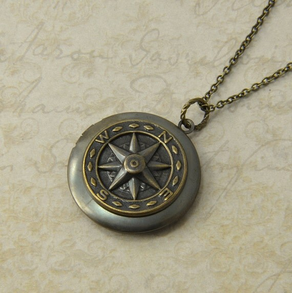 locket necklace compass necklace antiqued brass by. Black Bedroom Furniture Sets. Home Design Ideas