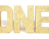 Glittered One Stand Alone 8 Inch Paper Mache Letters, First Year Birthday