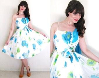 1950s Dress / 50s Dress / 50s Floral Chiffon Party Dress