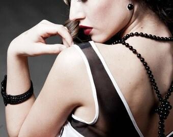 Black & White Short Formal Dress Illusion Neckline, Two Tone Bridesmaid Dress Natural Waist Silk Cady and Chiffon, Made To Order