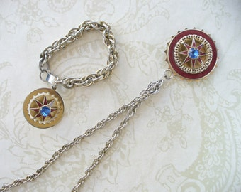 vintage enamel medallions - necklace and bracelet set - gold tone - vintage costume jewelry