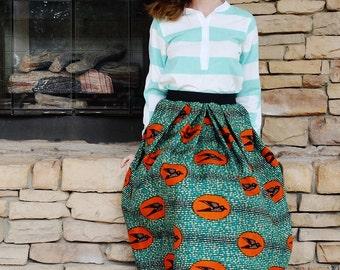 New Speed Bird skirt/African wax print/ Full pleated skirt/Holland wax/Tribal/African skirt/African print clothing/rusteam