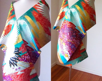 Vintage KIMONO Wedding shawl butterfly silk gold brocade crane maple wave cloud gold blue purple red made to order