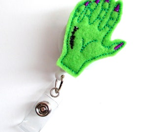 Zombie Hand  - Teacher Badge Holder - Nurses Badge Holder - Felt Badge - Nursing Badge Holder - Teacher Badge Reel - RN Badge Reel