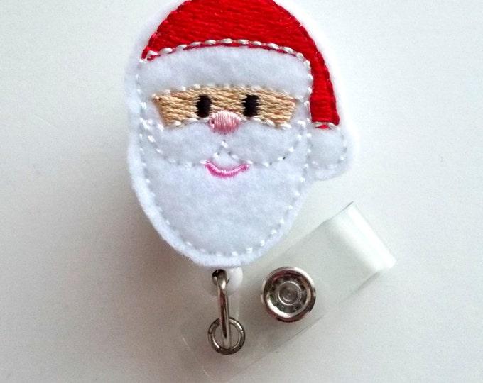 Cute Santa - Retractable ID Felt Badge Holder - Holiday Badge Reel - Nurses Badge Holder - Nurse Badge - Teacher Badge