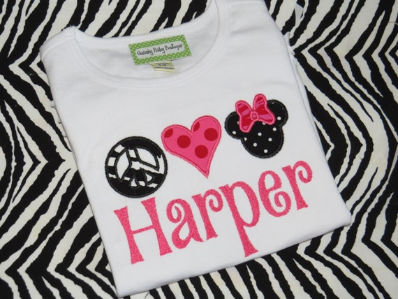 Girls White Applique T Shirt... Peace Love Minnie Mouse... Personalized with Name... Custom Made