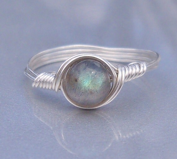 Labradorite Argentium Sterling Silver Wire Wrapped Stone Ring