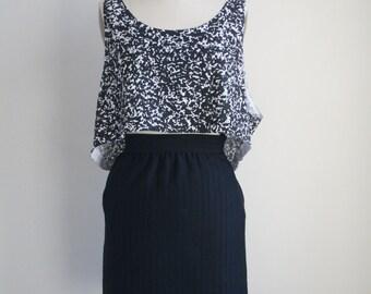 Vintage Ungaro Black Pencil Skirt - Vintage Designer Skirt -  Emanuel Ungaro - Vertical Stripe Skirt