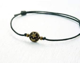 Moon Star Bead Bracelet, Moon Star Anklet (Many cord colors to choose)